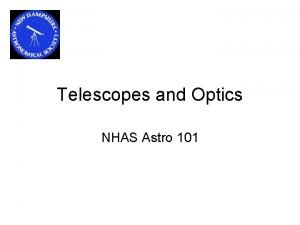 Telescopes and Optics NHAS Astro 101 Agenda Optics