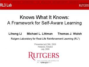 Knows What It Knows A Framework for SelfAware