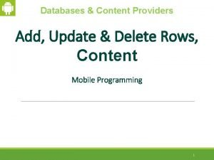 Databases Content Providers Add Update Delete Rows Content