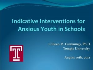 Indicative Interventions for Anxious Youth in Schools Colleen