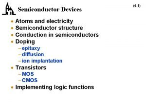 Semiconductor Devices Atoms and electricity Semiconductor structure Conduction
