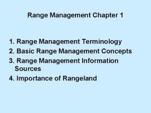 Range Management Chapter 1 1 Range Management Terminology