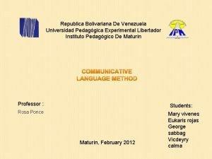 Republica Bolivariana De Venezuela Universidad Pedaggica Experimental Libertador