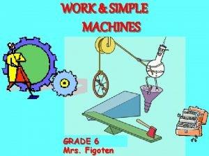 WORK SIMPLE MACHINES GRADE 66 Mrs Figoten WORK