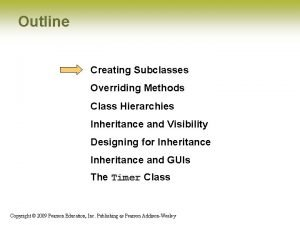 Outline Creating Subclasses Overriding Methods Class Hierarchies Inheritance