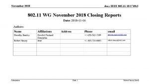 November 2018 doc IEEE 802 11 181749 r