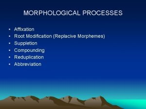 MORPHOLOGICAL PROCESSES Affixation Root Modification Replacive Morphemes Suppletion
