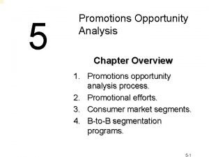 5 Promotions Opportunity Analysis Chapter Overview 1 Promotions