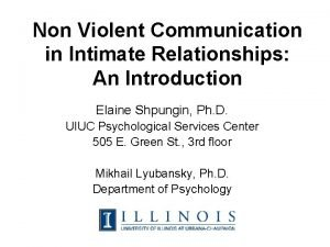 Non Violent Communication in Intimate Relationships An Introduction