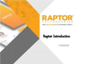 Raptor Introduction 11282020 National School Safety Statistics There