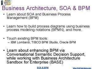 Business Architecture SOA BPM Learn about SOA and