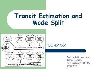 Transit Estimation and Mode Split CE 451551 Source