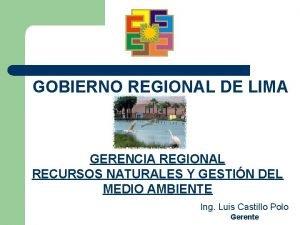 GOBIERNO REGIONAL DE LIMA GERENCIA REGIONAL RECURSOS NATURALES