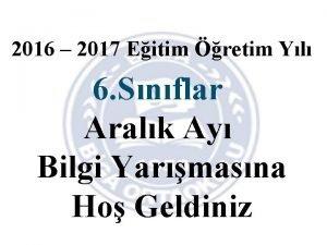 2016 2017 Eitim retim Yl 6 Snflar Aralk