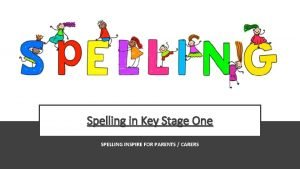 Spelling in Key Stage One SPELLING INSPIRE FOR