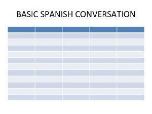 BASIC SPANISH CONVERSATION BASIC SPANISH CONVERSATION Greetings BASIC