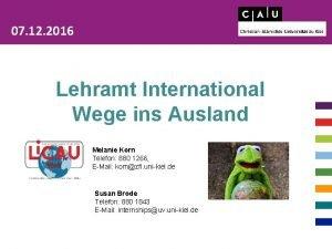 07 12 2016 Lehramt International Wege ins Ausland
