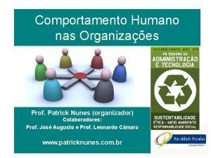 Comportamento Humano nas Organizaes Prof Patrick Nunes organizador