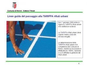 Comune di Rimini Settore Tributi Linee guida del