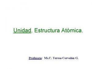 Unidad Estructura Atmica Profesora Ms C Teresa Corvaln