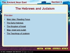 The Ancient Near East Section 3 The Hebrews
