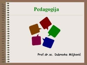 Pedagogija Prof dr sc Dubravka Miljkovi Sadraj kolegija