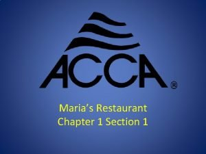 Marias Restaurant Chapter 1 Section 1 System Design