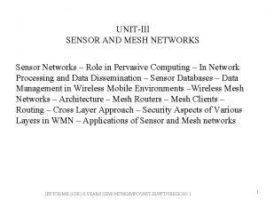 UNITIII SENSOR AND MESH NETWORKS Sensor Networks Role
