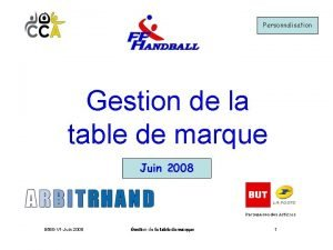 Personnalisation Gestion de la table de marque Juin