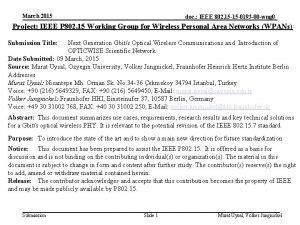 March 2015 doc IEEE 802 15 15 0193