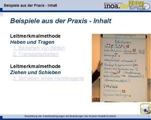 Beispiele aus der Praxis Inhalt K Beispiele aus
