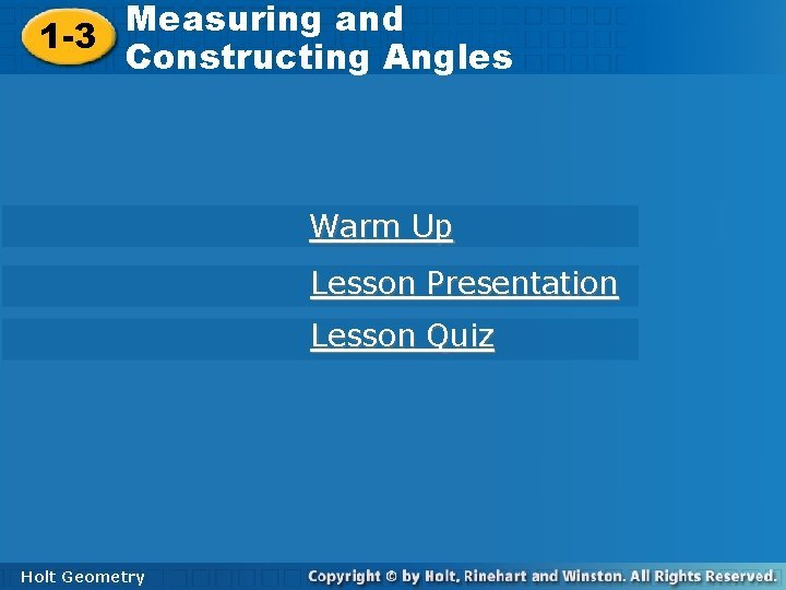 Measuring and Constructing Angles 1 3 Constructing Angles