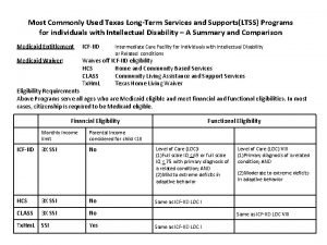Most Commonly Used Texas LongTerm Services and SupportsLTSS