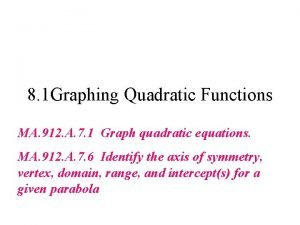 8 1 Graphing Quadratic Functions MA 912 A