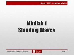 Physics 2225 Standing Waves Minilab 1 Standing Waves