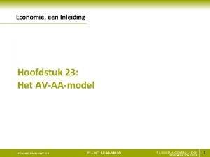 Economie een Inleiding Hoofdstuk 23 Het AVAAmodel ECONOMIE