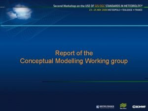 Report of the Conceptual Modelling Working group Working