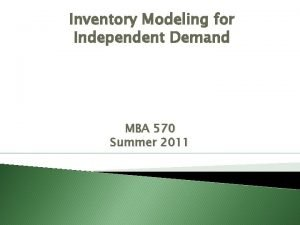 Inventory Modeling for Independent Demand MBA 570 Summer