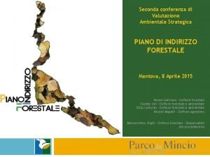 Seconda conferenza di Valutazione Ambientale Strategica PIANO DI