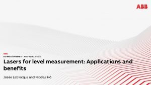 BU MEASUREMENT AND ANALYTICS Lasers for level measurement