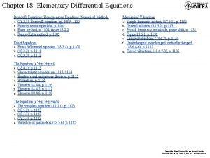 Chapter 18 Elementary Differential Equations Bernoulli Equations Homogeneous