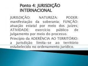 Ponto 4 JURISDIO INTERNACIONAL JURISDIO NATUREZA PODER manifestao