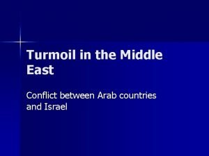 Turmoil in the Middle East Conflict between Arab