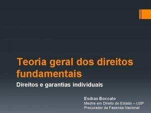 Teoria geral dos direitos fundamentais Direitos e garantias