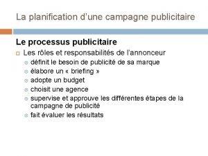 La planification dune campagne publicitaire Le processus publicitaire