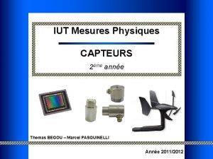 IUT Mesures Physiques CAPTEURS 2me anne Thomas BEGOU