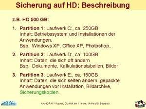 Sicherung auf HD Beschreibung z B HD 500