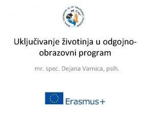 Ukljuivanje ivotinja u odgojnoobrazovni program mr spec Dejana