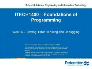 School of Science Engineering and Information Technology ITECH