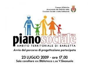 PIANO SOCIALE DI ZONA AMBITO DI BARLETTA RELAZIONE